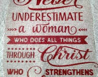 Heat transfer decal, vinyl decals, t shirt decals, Christian Woman, Women scripture, Scripture decals, Philippians 4:13, Do all things
