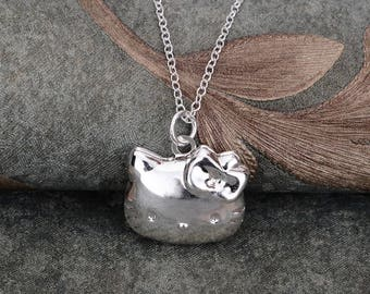 Hello Kitty necklace, Cute necklace, Kitten necklace, Pendant necklace, Silver necklace, 925 sterling silver necklace, Cheap jewelry, H24