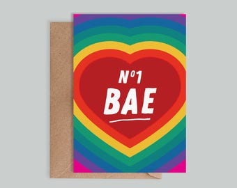 Illustrated, typographic 'No.1 Bae' card