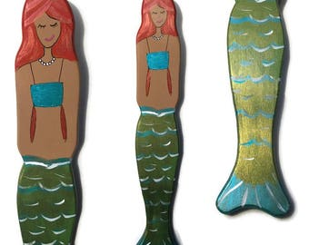 Mermaid Wall Art - Hand Painted Metallic Green Fins - Blonde - Brunette - Red Head - Beach Decor - For Girl's Room - Beach House