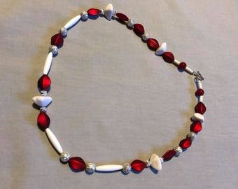 Red and White acrylic necklace