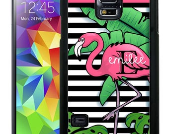 Personalize Rubber Case For Samsung Note 3, Note 4, Note 5, or Note 8- Tropical Flamingo