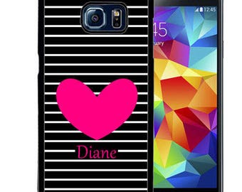 Personalize Rubber Case For Samsung Note 3, Note 4, Note 5, or Note 8- Black Stripes Heart