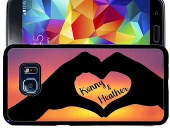 Personalize Rubber Case For Samsung Note 3, Note 4, Note 5, or Note 8- Love Hands Heart Sunset