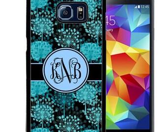 Monogrammed Rubber Case For Samsung S5, S6, S6 edge, S6 Edge Plus, S7, S7 Edge,  8, 8 plus - Black Blue Flowers