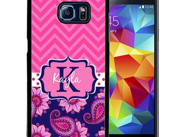 Monogrammed Rubber Case For Samsung Note 3, Note 4, Note 5, or Note 8- Blue Pink Chevron Paisley