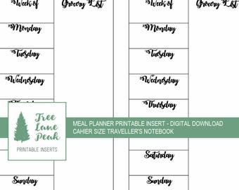 Meal Planner Printable Insert - Cahier Size