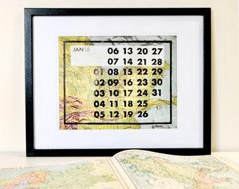 Atlas Wall Calendar 2018–Hand printed Calendar–2018 Calendar–Home Calendar–Linoprint Calendar–Vintage Atlas Calendar–Office Calendar