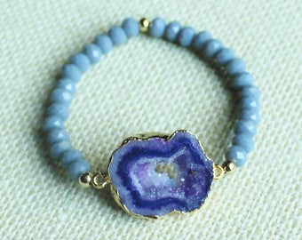 Purple Druzy and Lavender Stones Stretch Bracelet