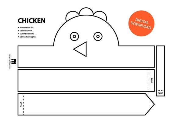 Chicken paper crown printable coloring crown coloring face chicken paper crown printable coloring crown coloring face mask crown template animal headband printable crown chicken from nikolaecrown on pronofoot35fo Gallery