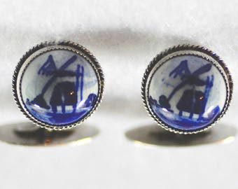 Sterling Silver Cufflinks Cuff Links Delft Porcelain 925 Holland Dutch Windmill Vintage