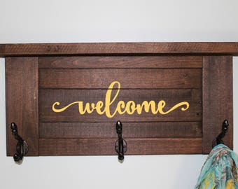 "Dark Stained Wooden ""Welcome"" Shelf"