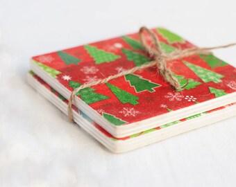 Christmas Gift, Christmas Wooden Coasters, Christmas Decor, Christmas Coasters, Set of 2 Coasters