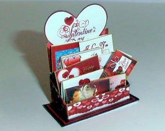 Dollhouse Miniature 1/12th Valentine Card Display
