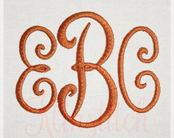Pillow Monogram Embroidery Fonts 7 Sizes Three Letters Monogram Fonts BX Fonts Embroidery Designs PES Alphabets - Instant Download
