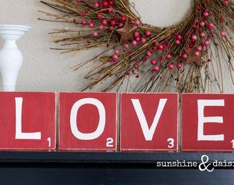 Scrabble Inspired Blocks LOVE, Valentine Blocks, Valentine Decor, Valentine Home Decor