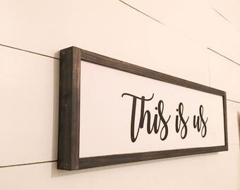 This is us, Wood Sign, Framed Wood Sign, Farmhouse Style, Fixer Upper Style