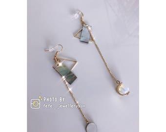 Handmad Vintage Asymmetric Geometry Colourful Shell Earrings