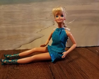 Barbie clothes, Blue, Halter Top, Skirt, Shoes, Handmade