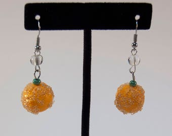Sugared Oranges - Orange Fruit Earrings