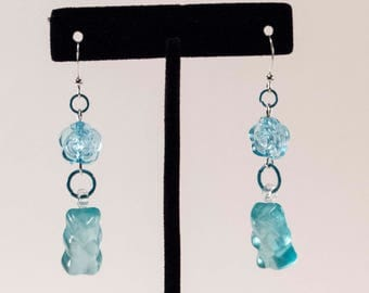 Food For Thought - Gummy Bear Gummies Blue Earrings