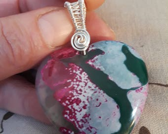 Heart agate pendant with German style silver