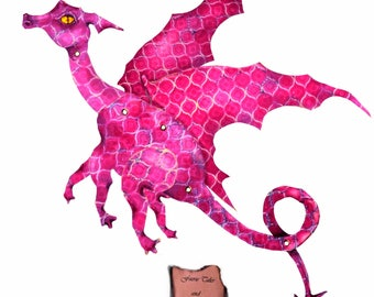 Fuschia Dragon  pink dragon, paper doll, art doll, fairy doll, digital Download, articulated, fully posable