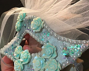 Emmaline, party mask, gala mask, festival mask, fairy mask, bride's mask, masquerade mask, ladies mask  white and mint green mask, honeymoon