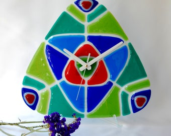 Bright Glass clock, Fused glass wall clock, Triangle clock, Fusing, Wall decor, Unusual wall clock, Living decor, Art Glass Clock, Unique.