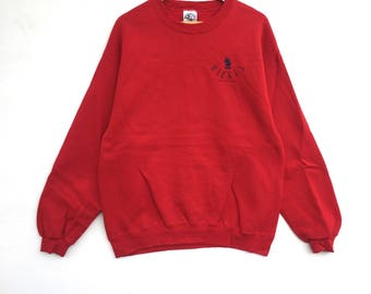 Mickey mouse Sweatshirt Red colour Big Logo Embroidery Sweat Medium Size Jumper Pullover Jacket Sweater Shirt Vintage 90's