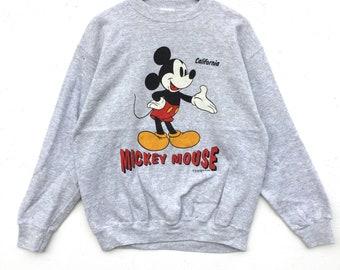 Vintage! Mickey mouse Disney Sweatshirt Silver colour Big Logo Embroidery Sweat Medium Size Jumper Pullover Jacket Sweater Shirt Vintage 90'