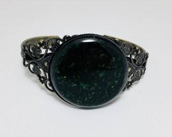 Emerald Green Fused Glass Bracelet