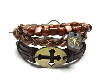 3 Pack Brown and Bronze Cross Bracelet Set
