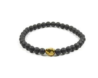 6mm Onyx and Gold Hematite Skull Bracelet