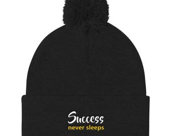 Success never sleeps Pom Pom Knit Cap
