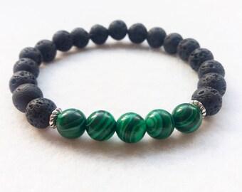 Essential Oil Diffuser Bracelet, Lava Stone and Malachite Gemstone Stretch Bracelet
