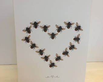 Manchester Bee heart Valentines Greeting Card