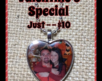 Heart Shaped Photo Necklace or Keychain