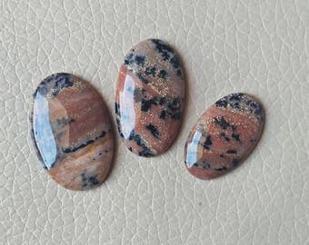45 Carat Natural Beautiful 3 Piece Brown Dendritic Agate Cabochon Gemstone Oval Shape Best Quality Craft Supplies Polished Dendritic Stones.