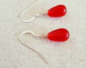 Red Earrings - Red Glass Earrings - Sterling Silver Earrings - Red Dangle Earrings -  Red Drop Earrings -  Red Teardrop Earrings - UK
