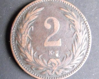 1895 Magyar Kiralyi Valtopeny.  Two Filler coin from Hungary.