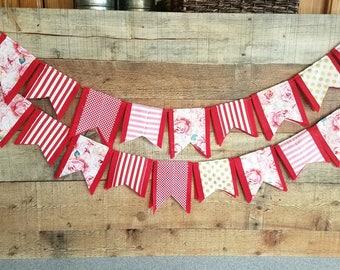 Valentine Day Felt Scrap Bunting - Felt Banner Double Sided - 6 feet - Fabric scrap Valentine Garland Banner Bunting - WHITE background