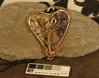 Tree of life heart, Yggdrasil pendant with amethyst and citrine leaves