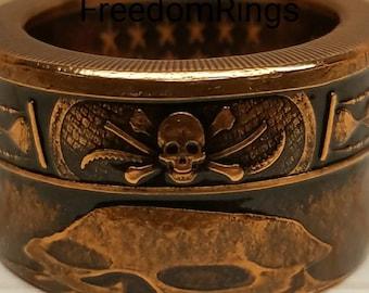 One oz pure copper Memento Mori coin ring