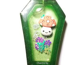 Happy Mushroom Coffin Resin Shaker Charm