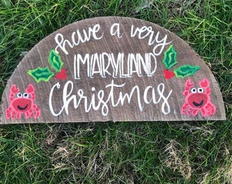 Have a very Maryland Christmas crab basket sign