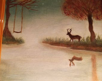 Oil painting with deer