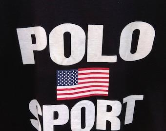 Vintage Polo Sport Polo Ralph Lauren Polo Bear Polo Stadium 92 big logo spell out American Flag