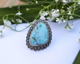 Larimar Ring, 925 Sterling Silver Ring, Boho Ring, Larimar Jewelry, Boho Ring, Dominican Republican Natural Blue Larimar Ring,Statement Ring