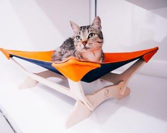 cat hammock hammock for cats   at hammock bed cat hammock orange cat cat hammock bed for pet hammock striped cat bed hammock pet  rh   etsy